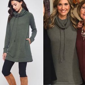 New! S-XL Green Funnel Neck Comfy Tunic